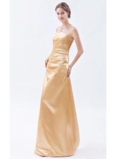 Gold Strapless Long Satin Evening Dresses Cheap