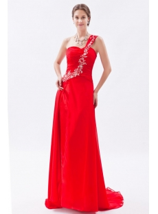 Gorgeous Red Chiffon Long 2014 Evening Dresses with Train