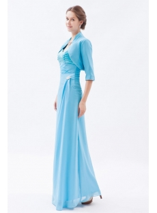 Graceful Blue Long Chiffon Mother of Groom Dress with Long Jacket