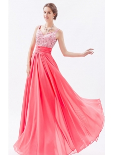 Graceful Water Melon Chiffon Beaded Long Prom Dresses