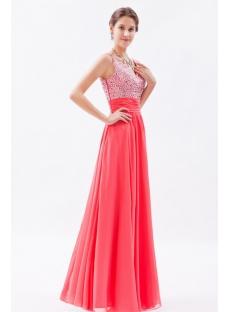 9a4e63215cf Graceful Water Melon Chiffon Beaded Long Prom Dresses 1st-dress.com