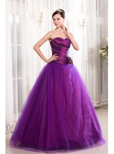 Grape Basque Cute Quinceanera Gown