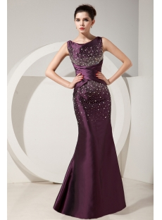 Grape Gorgeous Trumpet Beading Floor-Length Prom Dresses