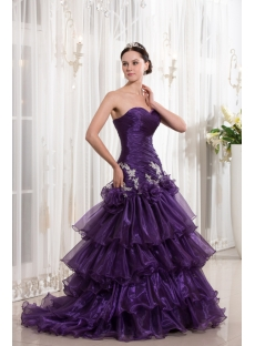 Grape Organza Sheath Cheap Quinceanera Dress with Train