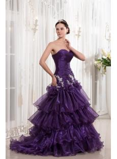 Grape Organza Sheath Cheap Quinceanera Dress with Train