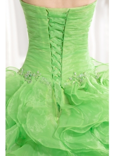 Green Traditional Ruffle Quince Gown Dress 2013