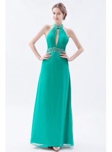 Halter Backless Hunter Green Celebrity Dress 2014