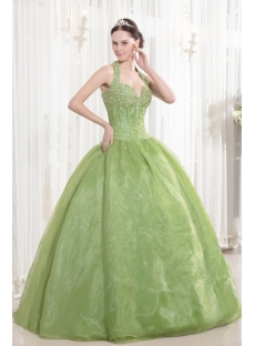 Halter Green Beaded Organza Bat Mitzvah Dresses