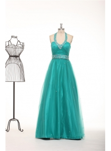Halter Teal Blue Plus Size Quinceanera Gown Dresses