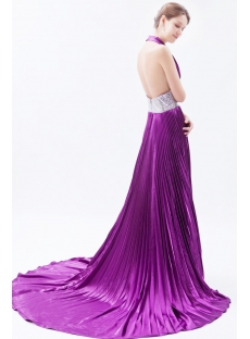 Hot Low Cut Halter Purple Prom Dress with Train