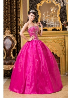 Hot Pink Beaded Cute Quinceanera Dresses