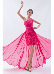 Hot Pink Cute One Shoulder High-low Hem Sweet 16 Dress