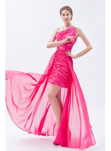 Hot Pink Cute One Shoulder High-low Hem Sweet 16 Dress:1st-dress.com