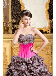 Hot Pink Leopard  Formal Quinceanera Dress with Train