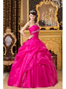 Hot Pink Organza Pretty Quinceanera Dress with Sweetheart