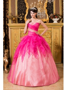 Hot Pink Unique Pretty Quinceanera Gowns