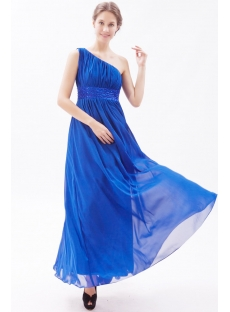 Hot Sale Royal One Shoulder Long Chiffon Homecoming Dress