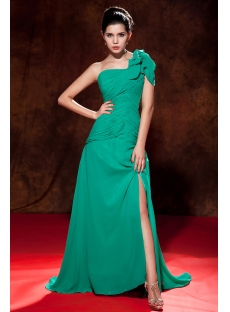 Hunter Green Long Chiffon Slit One Shoulder Evening Dresses