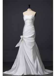 Ivory Sheath Satin Casual Wedding Dress