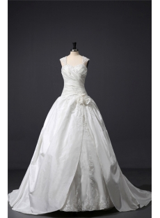 Ivory Straps Modest Ball Gown Wedding Dress