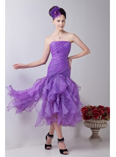 Lilac Ruffle Tea Length Short Quinceanera Dresses