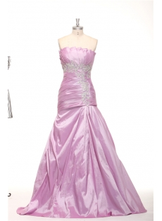 Lilac Taffeta Strapless Mermaid Graduation Prom Dresses