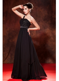 Long Black Celebrity Dress with One Shoulder
