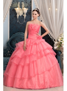 Long Coral Pretty Quinceanera Dress with Floral