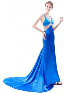 Long Criss-Cross Back Royal Blue Formal Evening Dress