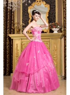 Long Fuchsia Princess Quince Gown with Corset