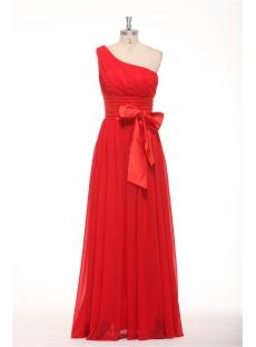 Long One Shoulder Red Evening Dresses on Sale