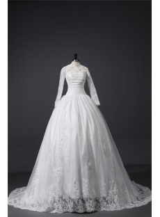 Long Sleeves High Neckline Lace Wedding Ball Gown Dress