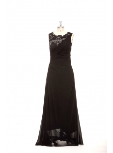 Modest Black Long Mother of Groom Dress Plus Size