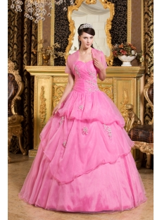 Most Popular Pink Organza 2012 Quinceanera Dress with Jacket