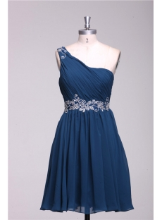 Navy Blue One Shoulder Cute Cocktail Dress for Juniors