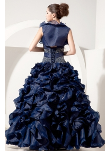 Navy Ruffle Organza Best Quinceanera Dress with Jacket