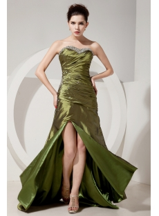 Olive Green Military Slit Evening Dress