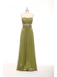 Olive Green Strapless Long Military Evening Dress