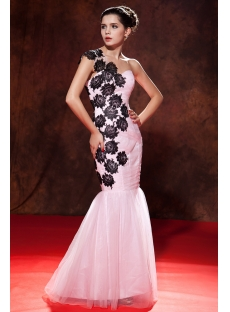 One Shoulder Pink Mermaid Graduation Dress Black Lace