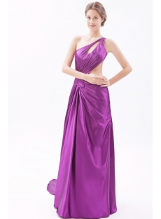 One Shoulder Purple Satin Evening Dress with Sexy Keyholes