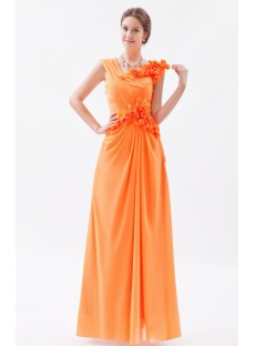 Orange Impressive Long Chiffon Prom Dress with V-neckline