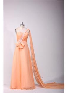 Orange One Shoulder Plus Size Prom Dresses with Sash