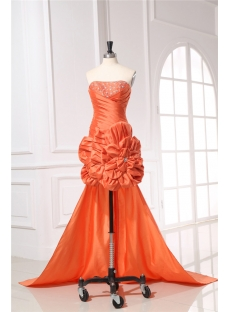 Orange Taffeta Cocktail Dress with Detachable Train