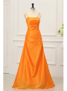 Orange Taffeta Simple Long Spaghetti Straps Prom Dress 2011