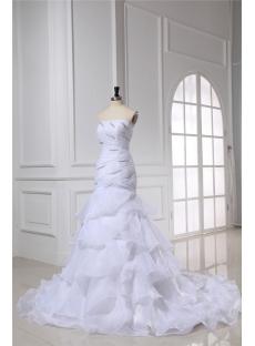 Organza Mermaid Strapless Wedding Dress for Spring