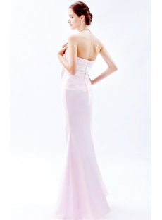 Pearl Pink Long Bridesmaid Dresses with White Sash
