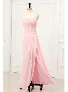Pink Sexy Chiffon Evening Dresses with Slit