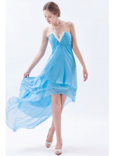 Precious Spring Chiffon Aqua Evening Dress with High-low Hem