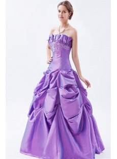 Purple 2011 Strapless Taffeta Embroidery Quinceanera Dresses