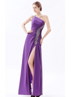 Purple One Shoulder Bridesmaid Dress Long